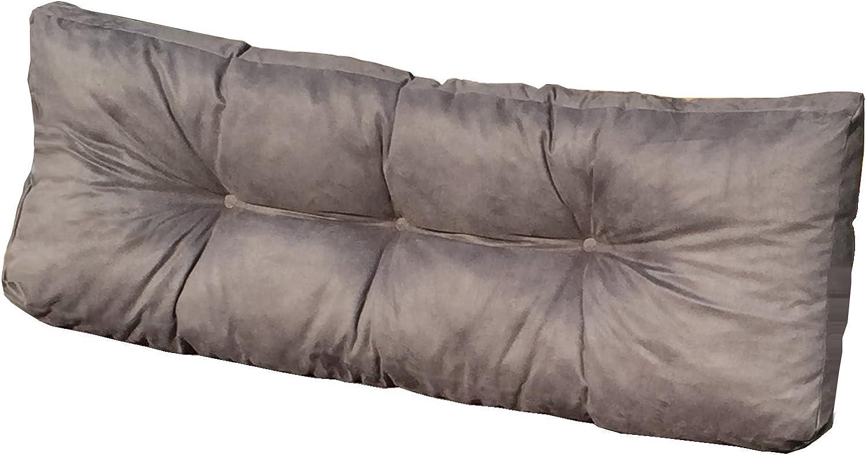 Cuscini per Schienale Divano pallet di legno COLORE GRIGIO Cuscino Spalliera per Bancale 120x42x10-18 cm