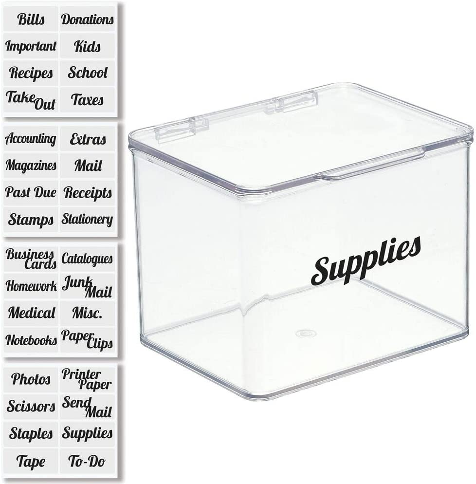 mDesign Plastic Stackable Home, Office Supplies Storage Organizer Box with Hinged Lid - for Note Pads, Gel Pens, Staples, Dry Erase Markers, Tape - Includes 32 Labels - Clear