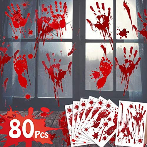 Halloween Decorations Clearance 80Pcs Window Bloody Handprint Footprint Decals Stickers,Vampire Zombie Fake Bloody Print for Halloween Party Favor Supplies House Indoor Wall Floor Bathtub Office Cling