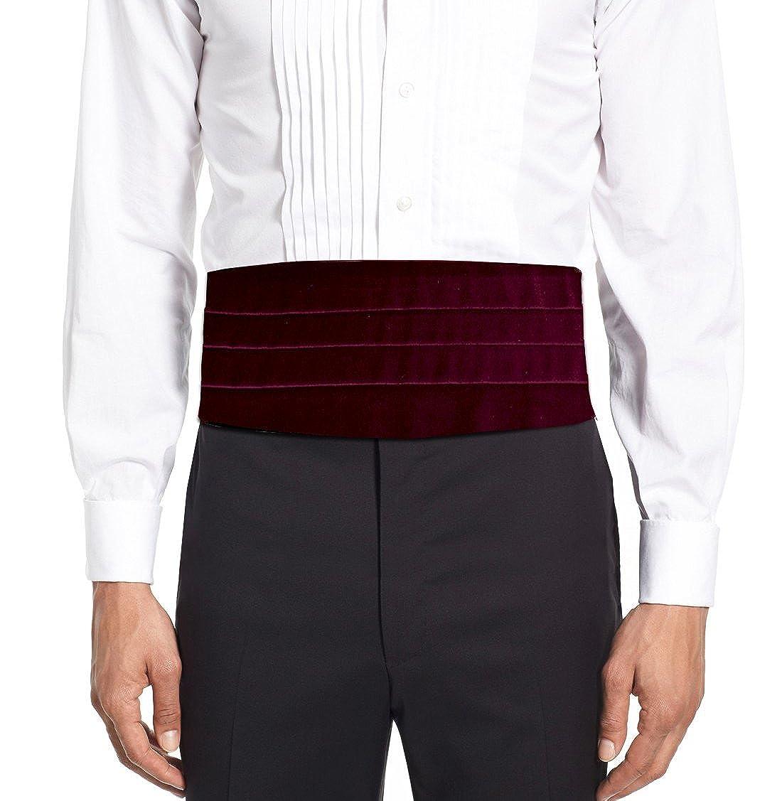 Remo Sartori Made in Italy Men's Burgundy Velvet Cummerbund Tuxedo Belt, Four Folded