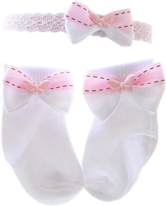f147447e7f87db Baby Kinder Socks Shoes Socken & Haarband Hairband Set Söckchen Stirnband  mit Schleife Weiß festlich Taufe La Bortini