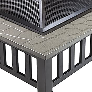 Sorbus Fire Pit Square Table With Screen Cover, Log Grate, Poker Tool, Great Bbq Grill For Outdoor Patio, Backyard, Garden, Camping, Picnic, Bonfire, Attractive Stone Slate (Fire Pit Square Table) 6