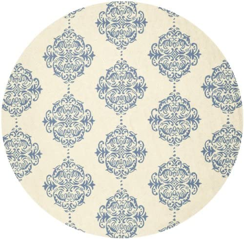 Safavieh Chelsea Collection HK145A Hand-Hooked Ivory and Blue Premium Wool Round Area Rug 8' Diameter