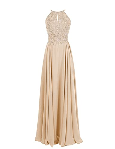 Dressystar Straps Sparkling Formal Gown Beading Prom Evening Dress Backless Size 4 Champagne