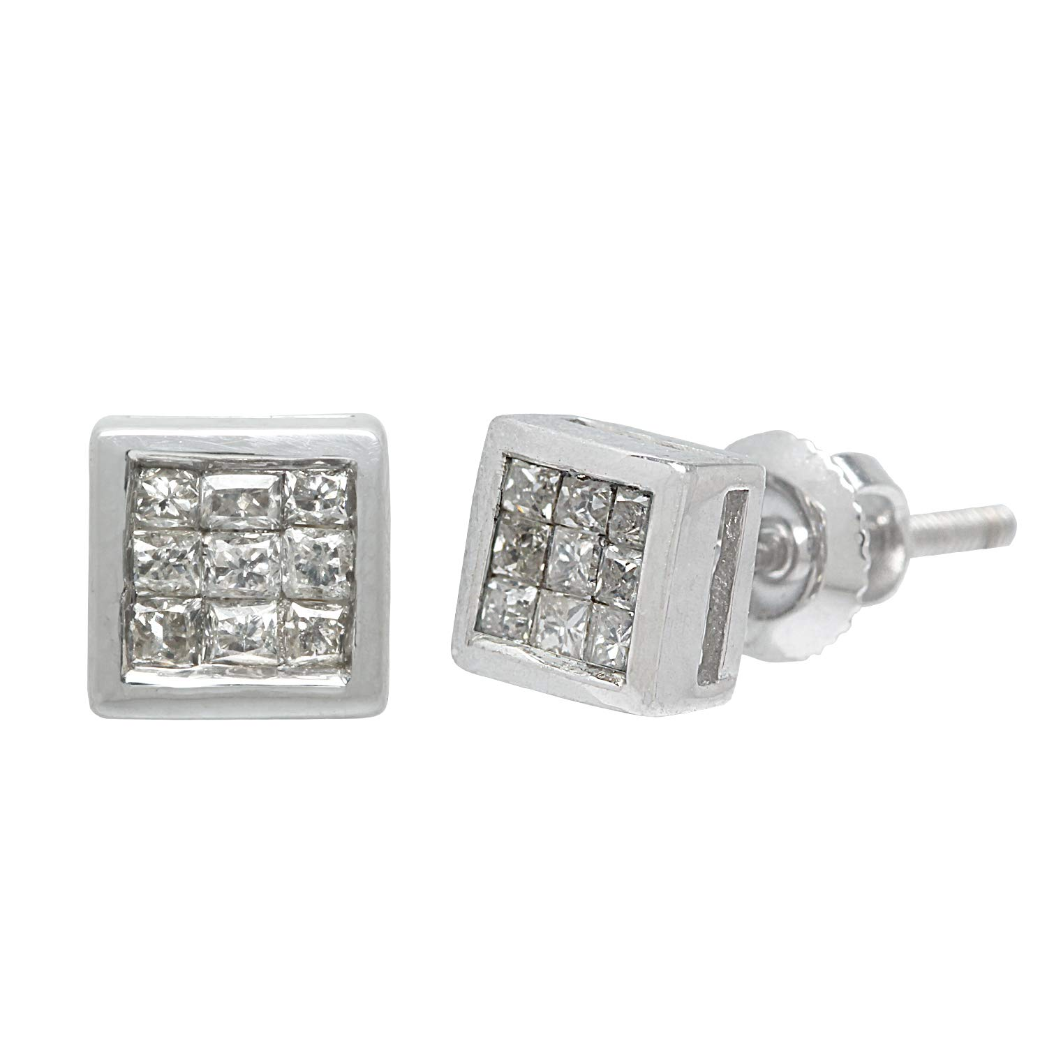 G-H Color, SI Clarity, 4 MM Ornaatis 0.19 Cttw Princess Cut White Natural Diamond Stud Earrings 14K Solid White Gold