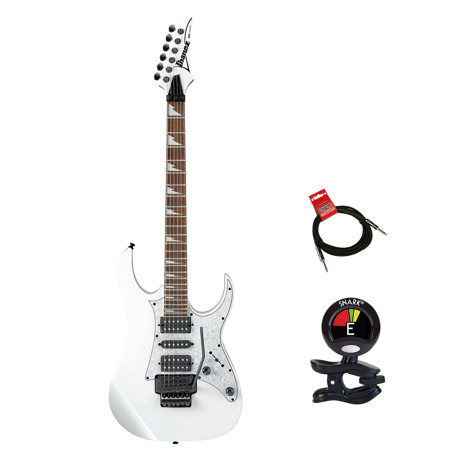 Ibanez Rg450dxbwh Rg Electric Guitar Bundle In White Jackson Js22 7 Wire Diagram Color With Guitars Clip On Tuner And Instrument Cable Kit Accessories