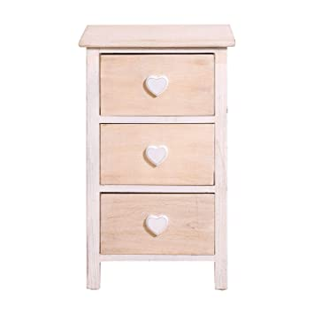 Rebecca Mobili Mesita de noche de madera natural, cómoda con 3 cajones, madera, blanco beige, para dormitorio baño entrada - Medidas: 57 x 35 x 27 cm ...