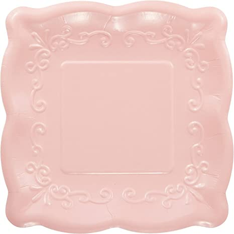 Elise 325935 Scalloped Embossed Small/Dessert Square Premium Paper Plates Pink & Amazon.com: Elise 325935 Scalloped Embossed Small/Dessert Square ...