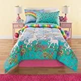 6 Piece Girls Unicorn Rainbow Comforter Set Twin, Reversible Bedding, Beautiful Allover Flowers and Floral Pattern, Vibrant Rainbows with Clouds, Pink Orange Yellow Blue Aqua Green