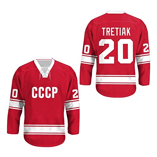 borizcustoms Vladislav Tretiak USSR CCCP Russian Hockey Jersey Away Sewn  Stitch XS-2XL Halloween Shirt a4543e721
