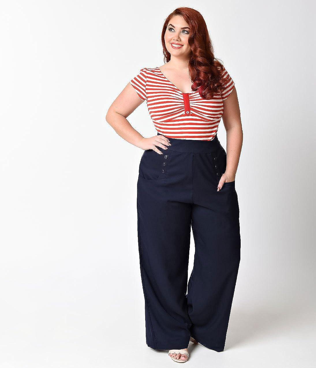 Unique Vintage Plus Size 1940s Navy Blue High Waist Sailor Ginger Pants