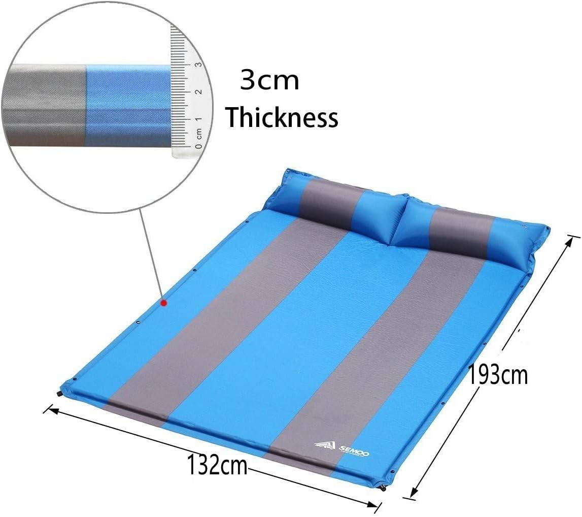 imperm/éable Isolant 193 x 132 x 3 cm PVC 190T SEMOO Matelas Oreiller Auto-Gonflable Parfait Aller de Camping Tapis de Sol Coussin soupape autogonflable
