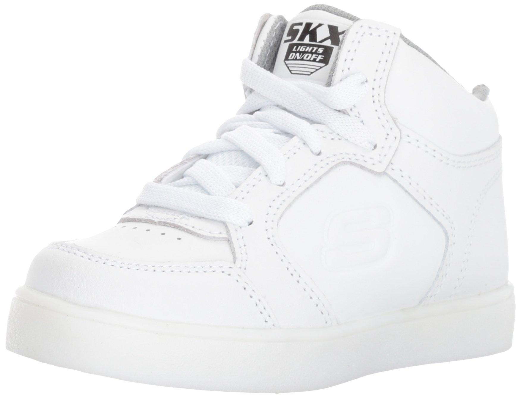 Skechers Kids Boys Energy Lights Sneaker,7 M US Big Kid,White