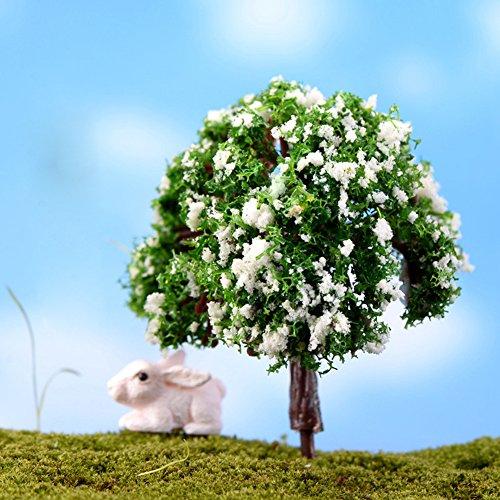 (Poity Mini Tree Plants Miniature Fairy DIY House Dollhouse Garden Micro Bonsai Decor Green Leaves with White Flowers)