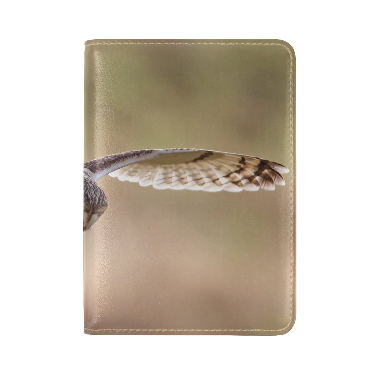 Animal Owl Short-eared Flying Big Grand Spectacular Panoramic Scenic Leather Passport Holder Cover Case Travel One Pocket