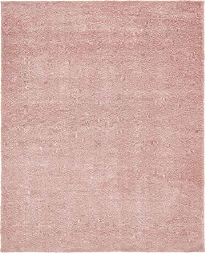 Unique Loom Solo Collection Plush Casual Pink Area Rug (8' x 10')