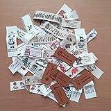 DIY ハンドメイドにおすすめ アンティークな スタンプタグテープ50枚&皮タグ5枚  55枚セット