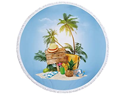 kxrzu Gracioso Toalla de playa redonda con borlas Super absorbente de agua Toalla de microfibra suave