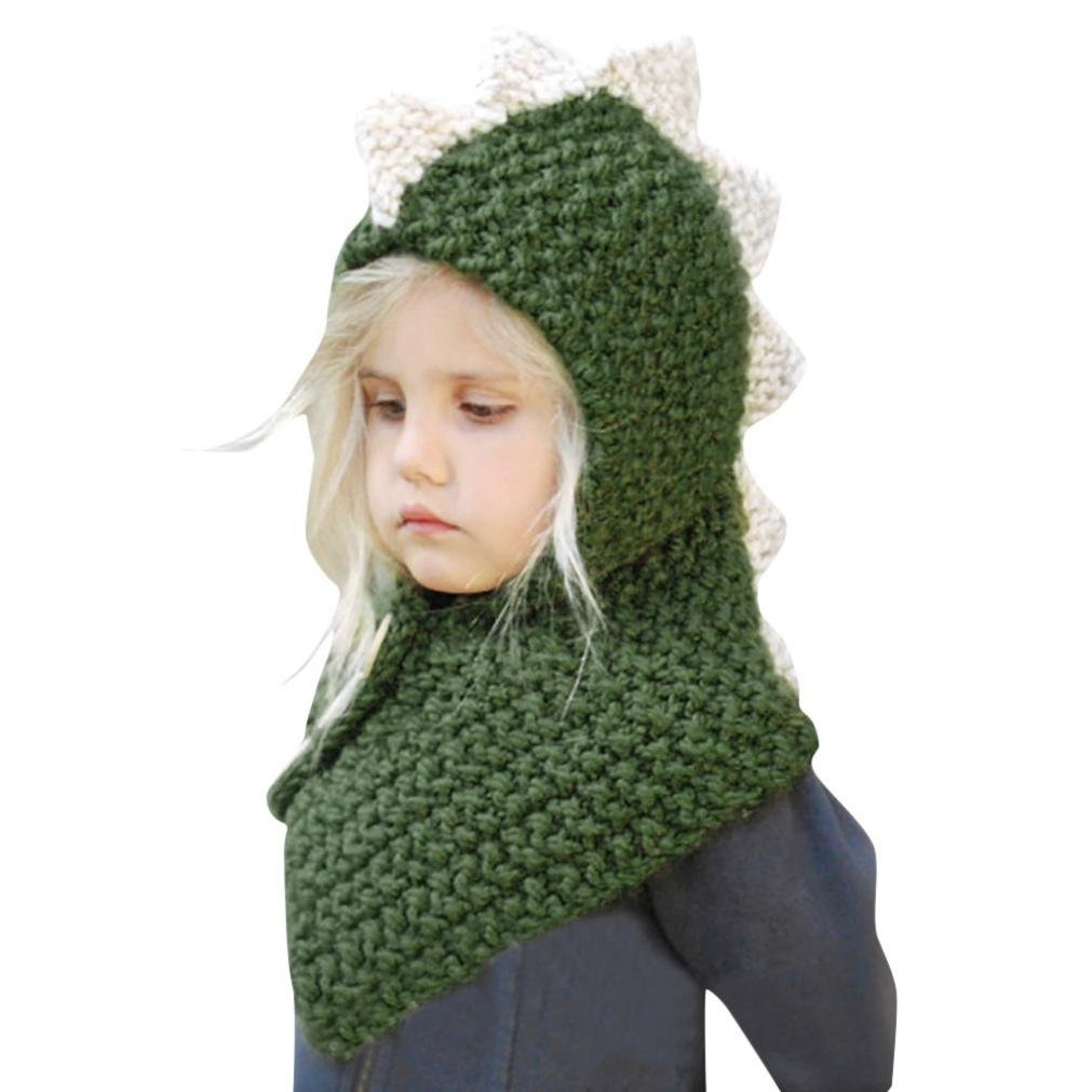 Baby Scarves Beanies, Perman Kids Warm Winter Hat Crochet Knitted Hood Scarf (F) PM-919