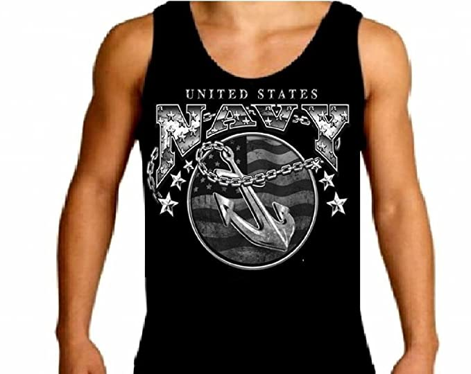 Amazon.com  United States Navy Mens Tank Top Tee With Anchor Naval ... 41bbb8461