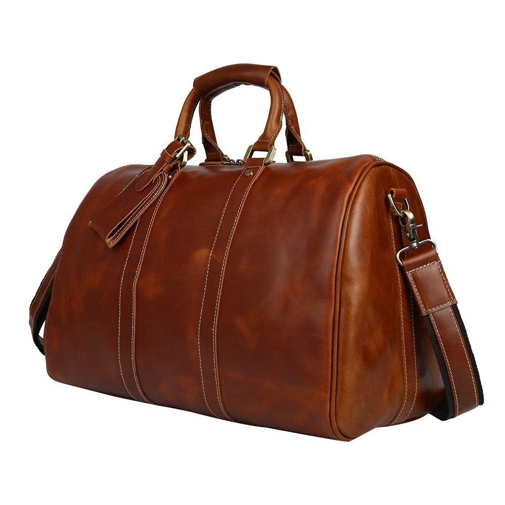 Mens Brown Genuine Leather Weekender Duffel Bag Garment Travel Duffle Tote Overnight Bags Boarding Bag by BAIGIO