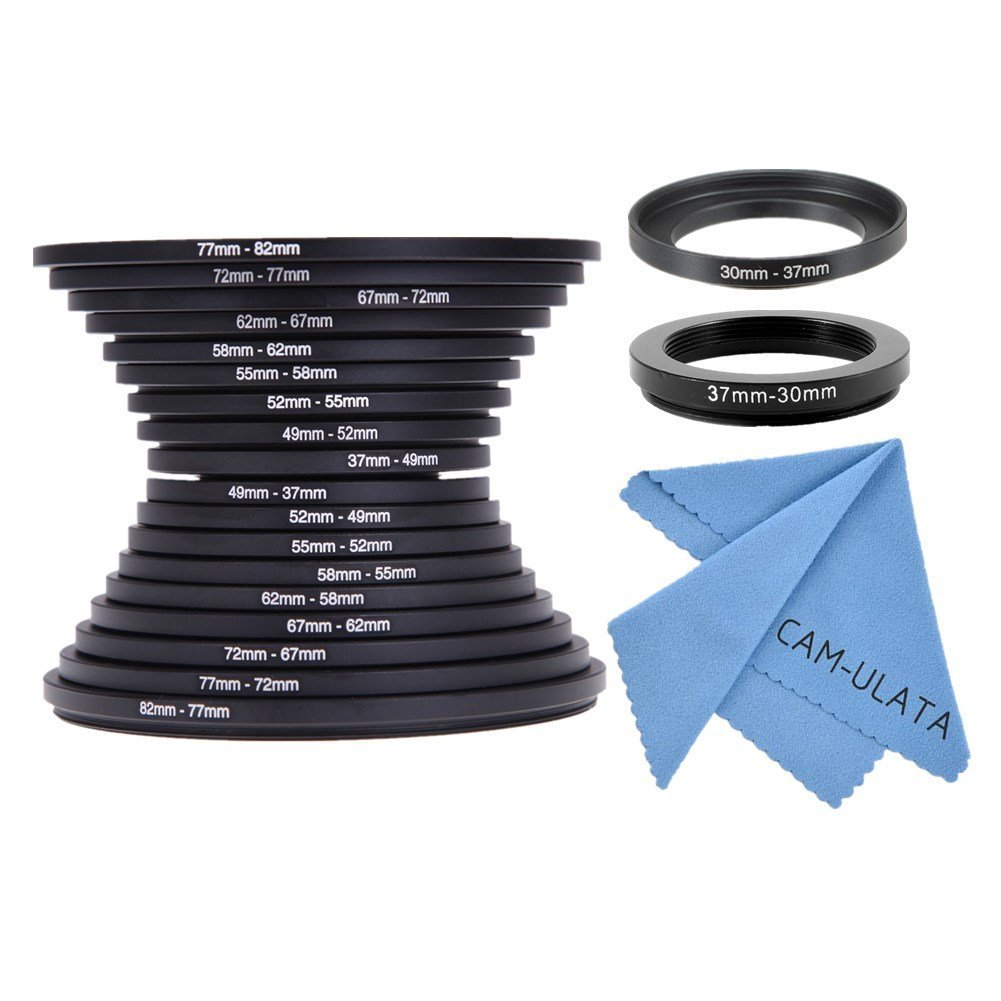 CAM-ULATA 20 Teiliges Filteradapter Step Up / Step Down Ringe Set 82mm 77mm 72mm 67mm 62mm 58mm 55mm 52mm 49mm 37mm 30mm Objektivadapter Adapterringe Filteradapter Schwarz für Canon Nikon Sony Sigma