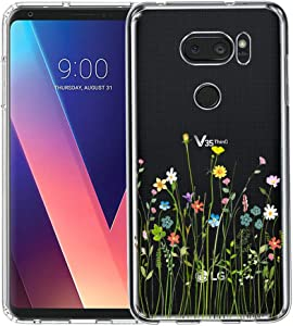 LG V35 ThinQ Case, Unov Clear with Design Soft TPU Shock Absorption Slim Embossed Pattern Protective Back Cover for LG V30S ThinQ V30 Plus V30 (Flower Bouquet)