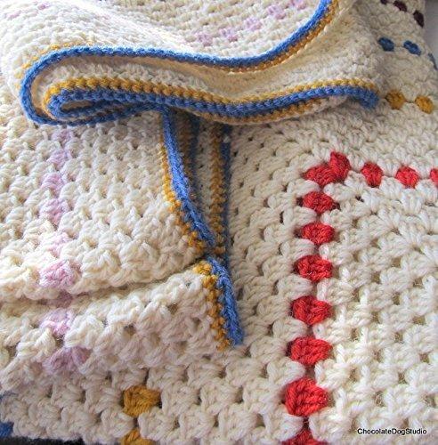 d6e713568295b Amazon.com: Crochet granny square blanket in cream wool yarn ...