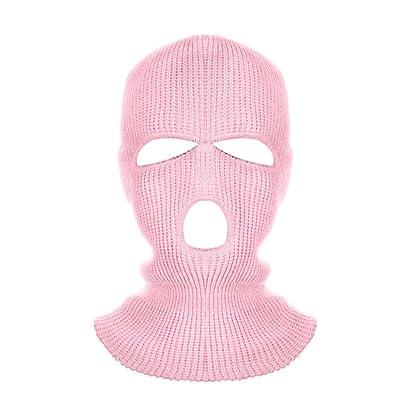 Idlespace New 3 Hole Helmet Warm Soft Motorcycle Helmet Winter Knit Hat Ski Neck Gaiter Army Tactical Neck Gaiter Full Face Cap(Pink): Home & Kitchen
