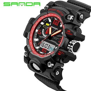 Los hombres de la Digital reloj de pulsera deportivo impermeable de pantalla electrónica LED al aire ...