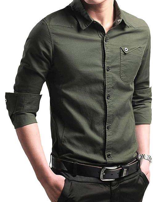 af59da4fe Camisa de Slim Fit Hombre Manga Larga Color Sólido Casual Clásico de ...