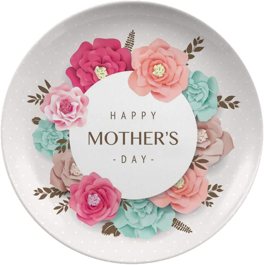 Art Ceramic Dinner Plates,Happy Mothers Day,dinner Plates Set Plate For Home And Kitchen, Dinner Dishes,8 Inch