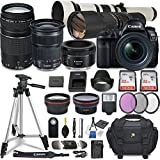 Canon EOS 5D Mark IV DSLR Camera w/ 7 Lens Bundle Including EF 24-70mm f/4L is USM + 2.2X Telephoto & 0.43x Aux Wide Angle Lens + 2Pcs 32GB SD + Accessories with Premium Commander Kit (32 Items)