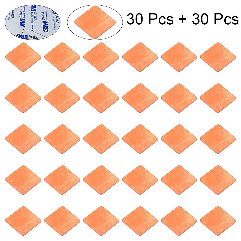 15x15x1.0mm 30Pcs Thermal Conductive Adhesive Stickers for IC Chipset GPU CPU Cooling CJRSLRB 30Pcs Heatsink Copper Pad Shims