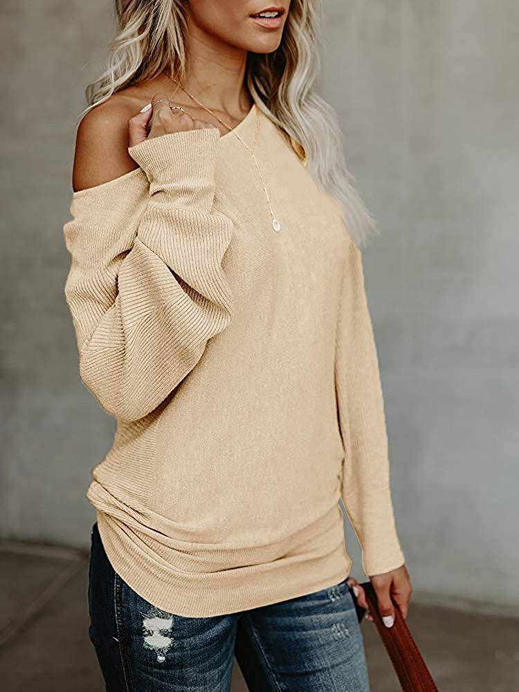 Umeko Womens Off The Shoulder Sweater Oversized Knit Long Sleeve Sweaters Tunic Tops