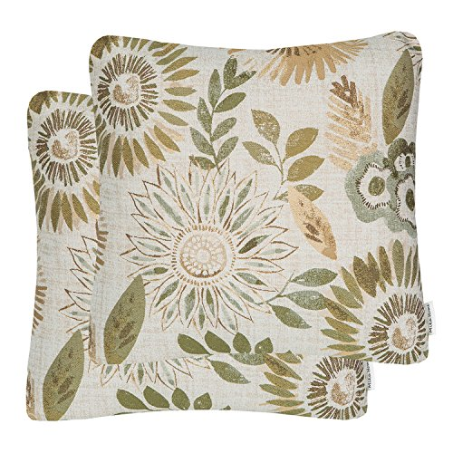 Mika Home Pack of 2 Decorative Throw Pillows Cases Cushion Cover for Sofa Couch Bed,Sunflower Pattern,20x20 Inches,Green Cream (Sofa Pillows Green)