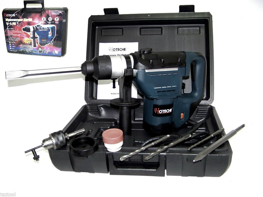 1-1/2'' Electric Rotary Hammer Drill With Bits Sds Plus Roto Tool 1.5 Hp Hoteche