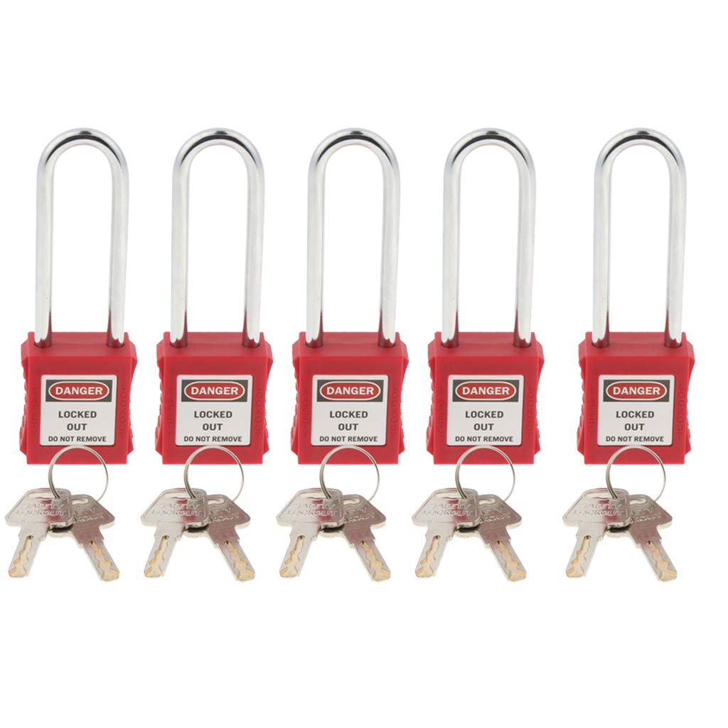 SM SunniMix 5 Pack Strong Firm Safety Lockout Padlock Lock Keyed Different, Key Retaining, Safe, RED