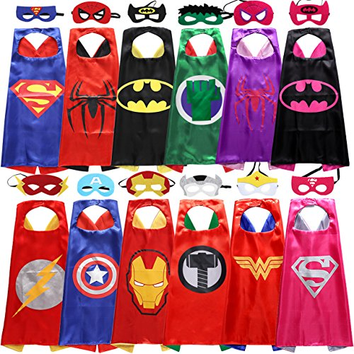 Sholin Superhero Dress Up Costumes 6 Double-sided Design Satin Capes with 12 Felt Masks for Boys and Girls - Easy Superhero Costumes To Make
