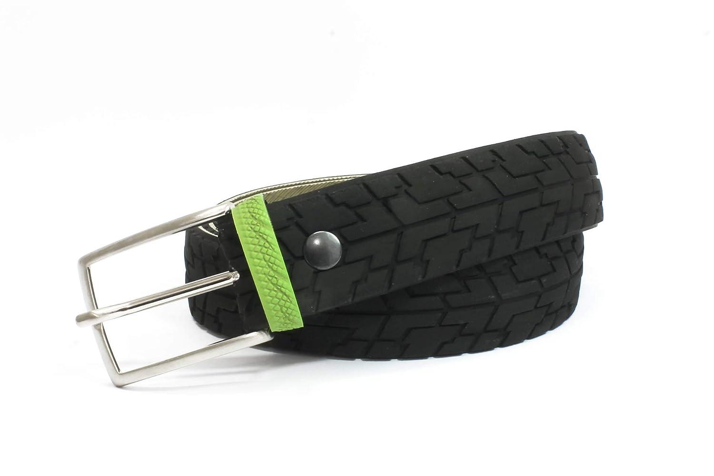 Cintura da uomo con passante verde realizzata con copertoni di bicicletta da strada. Taglia S/Fatta a mano in Italia.