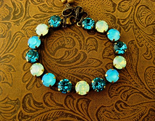 Swarovski Crystal Bracelet Blue Zircon Green Opal Turquoise Rhinestone Tennis Bracelet, Big Stone Looks, Rhinestone Bracelet, Green, Gifts for Her
