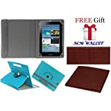 Acm Rotating Leather Flip Case for Samsung Galaxy Tab 2 P3100 Tablet Cover Stand Greenish Blue (FREE Acm Wallet Included)