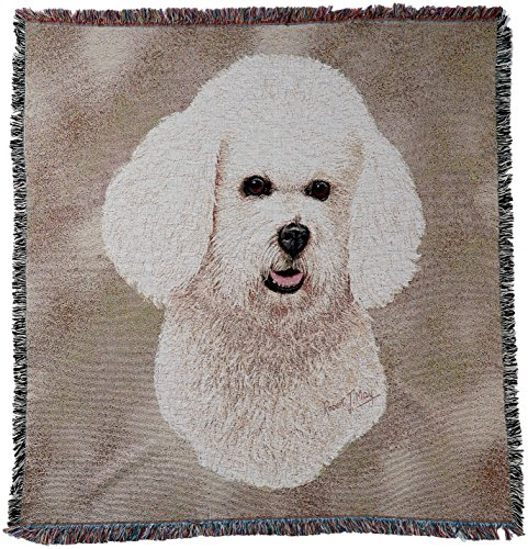Pure Country 1150-LS Bichon Frise Pet Blanket, Canine on Beige Background, 54 by 54-Inch by Pure Country (Image #2)