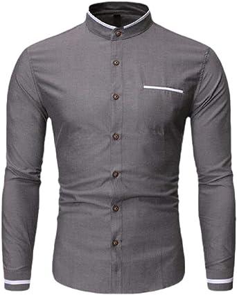 Wofupowga Mens Slim Long Sleeve Floral Print Lapel Neck Plaid Button Down Shirts