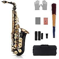 Muslady Eb Alto Saxofón Latón Oro 82Z Tipo de Instrumento de Viento de Madera con Estuche Acolchado Guantes Paño de…