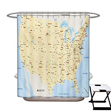 Amazon.com: BlountDecor Map Shower Curtains Fabric Extra ...