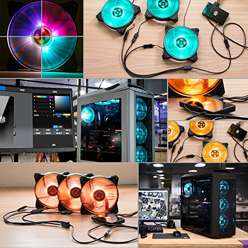 Cooler Master MasterFan Pro 120 Air Balance RGB- 120mm Hybrid RGB Case Fan, 3 In 1 with RGB LED Controller, Computer Cases CPU Coolers and Radiators by Cooler Master (Image #1)