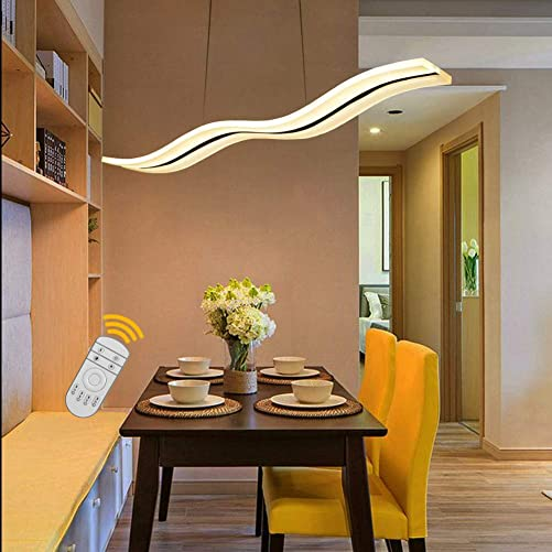 Aipsun 36W Modern Wave LED Pendant Light Dimmable Fixture Ceiling Light Contemporary Chandelier Hanging Light Fixture