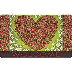 Toland Home Garden Ladybug Heart 18 x 30 Inch Decorative Floor Mat Colorful Bug Flower Welcome Doormat