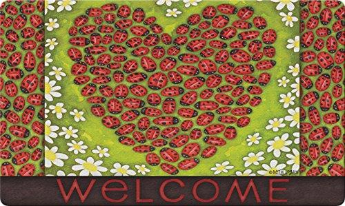 Ladybug Door Mat - Toland Home Garden Ladybug Heart 18 x 30 Inch Decorative Floor Mat Colorful Bug Flower Welcome Doormat